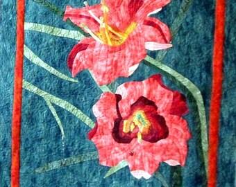 Fabric Art Wall Hanging ,  Applique Quilt , OOAK Art Quilt  , Day Lilies Wall Quilt
