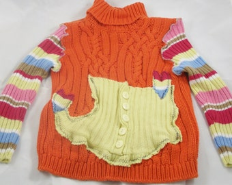 Girls Sweater Turtleneck size 8  Recycled  Orange Rainbow Childrens Boho  Upcycled Clothing Eco Friendly  Large Pocket Hearts Sweaters