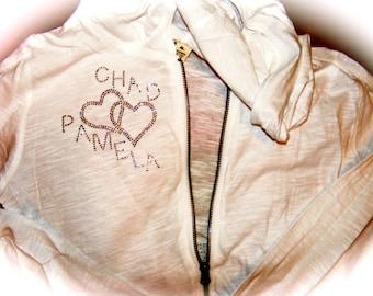 Personalized Wedding Zip Up / Bride Hoodie / Bride To Be Gift / His and Her love Hoodie /  Bridal Shower Gift / Bride zip Up Sweatshirt
