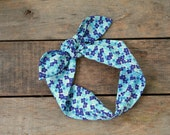 blue floral headscarf, navy blue white, flowers, floral, tie up headband, adjustable, spring summer fall, knotted headband