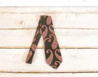 Vintage Christian Dior Monsieur red/black paisley silk tie/paisley vintage necktie