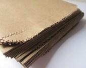 """100 Kraft Brown Paper Bags - 5 x 7 1/2 - Flat - Candy Buffet - Medium 5 x 7 .5"""" - Small Flatware Packaging - Favor / Treat - 5x7 Merchandise"""