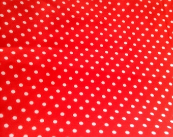 over 1 yd Red Poka Dot fabric