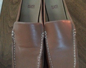Vintage Glacee Original Box Tan Leather Loafer Open Back Flats Size 8 M Box Ladies Autumn Never Worn