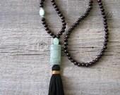 Aventurine Mala, 108 Bead Mala,  Healing Stone, Meditation Mala, Yoga Jewelry, Tassel Mala