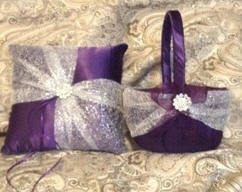 flower girl basket and ring bearer pillow dark purple and silver