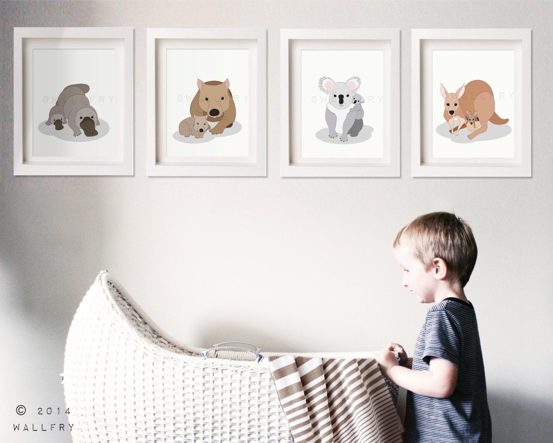 Australian Animal Nursery Art Outback Nursery Prints Aussie