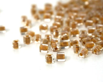 4mm square glass beads,  clear with tan brown color lined hole, Miyuki cubes, 200 beads (1000SB