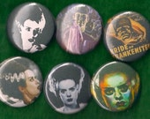 "Bride of Frankenstein 1"" Pins Buttons Badges Set of 6 classic horror movie 1 inch pinbacks"
