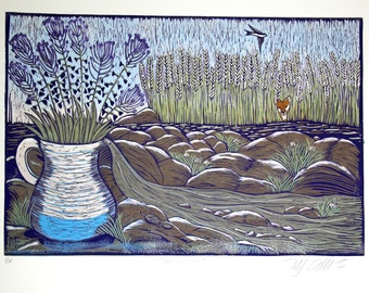 linocut, printmaking, river, fox, countryside, stones, flowers, jug, purple, brown, blue, turquoise, swallow, summer, country cottage,