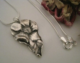 Fine Silver Flower and Leaf Necklace