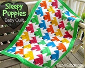 Quilt Pattern, Sleepy Puppies Baby Quilt, Colorful Easy Pattern, sewing, quilting, gift