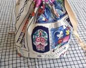 medium knitting project bag shawl sack (socksack) - calaveras