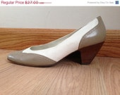 Wingtip Size 6 Heels - Sesto Meucci Women's Shoes - White and Beige Wingtip
