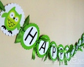 Owl Birthday Banner - Happy Birthday - bright green owl collection