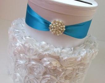 Wedding Card Holder Textured Satin Card Box Baby Shower Box Bridal Shower Card Box