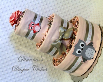Owls Baby Diaper Cake Girls SELECT COLOR Shower Gift or Centerpiece