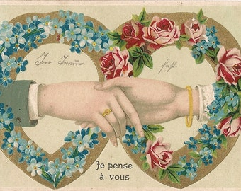 Victorian Postcard - Clasped Hands - Forget Me Not - Roses  - Flower Wreath