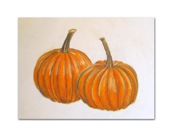 Pumpkin Art - Pumpkin Illustration - Pumpkin Drawing - Original Pastel Painting - Fall Art - Fall Decor - Pumpkin Decor - Original Art
