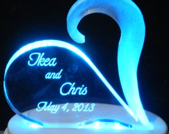 Open Heart Wedding Cake Topper with Frosted, Clear  or Colored Accent Piece - Light Extra