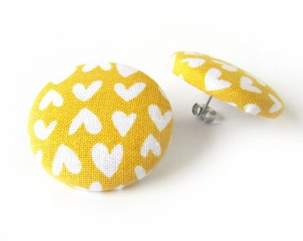 Valentine's day gift - Big mustard yellow stud earrings - large fabric button earrings - hearts bright funky - birthday gift for her