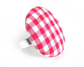 Large red gingham button ring - spring fabric ring -  picnic statement ring white plaid tartan check