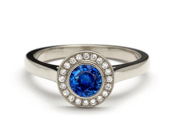 Halo White Gold Diamond and Sapphire Engagement Ring