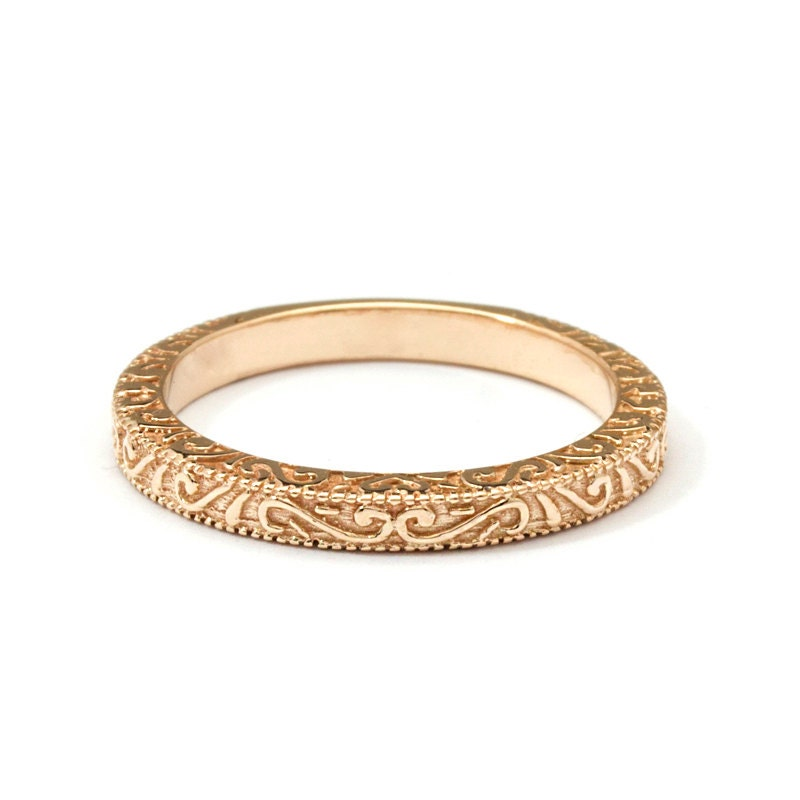 Antique Scroll Bands: Scrolls Handmade Rose Gold Vintage Wedding Ring
