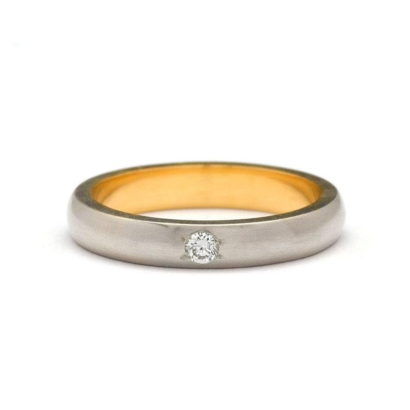 24k yellow gold inside white gold diamond wedding ring for 24k gold wedding ring
