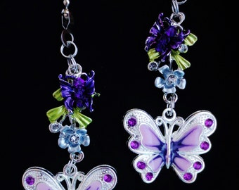 Butterflies Flowers Nature Light/Ceiling Fan Pull Chain Set Choice of Color