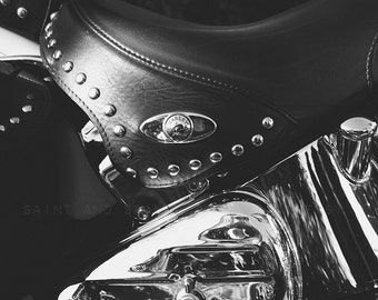 Harley Heritage Softail Leather Seat Close up Black and White Fine Art Print,Wall Decor, Wall Art, Gift Ideas,