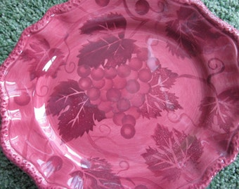 Decorative vintage  hand painted grapes and vine design plate