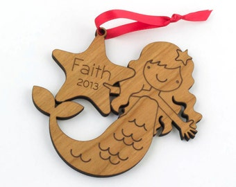 Wooden Mermaid 2016 Ornament Baby's First Christmas Girl