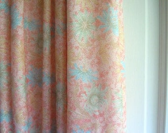 Peach and Pastel Floral Vintage Fabric- 2 Plus yards
