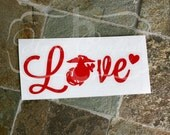 Small (phone size) Decal, Glitter Vinyl, Love Military/First Responder