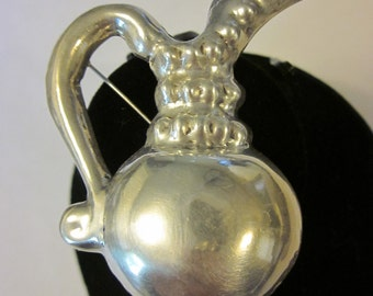 Antique STERLING SILVER Pitcher Brooch