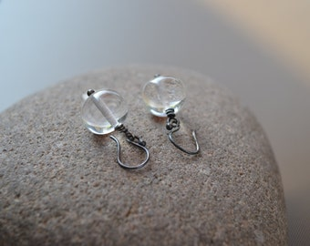 Clear Lampwork Bead and Sterling Silver Earrings