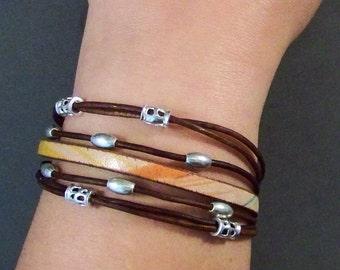 Boho Leather Bracelet, Sterling Silver Bracelet with Leather, Stacking Bracelet, Womens Bracelet, Brown Leather Bracelet, Gifts
