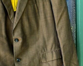 Midcentury Vintage Gold Cotton Blend Mens Suit L