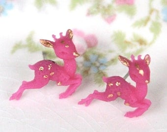 Vintage Inspired Fuchsia Pink and Gold Magenta Reindeer Deer Post Earrings - Christmas, Holiday Bridesmaid, GIft