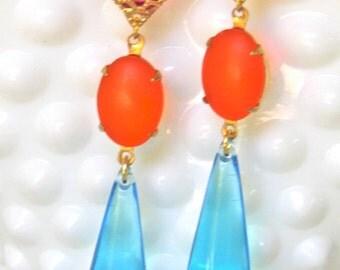 Vintage Tangerine Orange Matte Rhinestone Fuchsia Pink Rhinestone Blue Drop Dangle Earrings-  Beach, Wedding, Bridal, Bridesmaid, Tropical