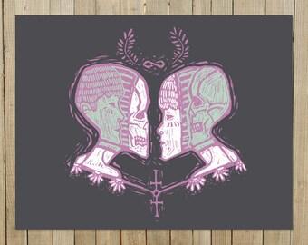 Endless / 11 x 14 in Art Print | hipster gothic skeleton infinity skull woodcut