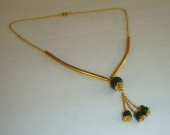Vintage 24K & Spinach Jade Gold Plated Lariat Dangle Slide Tubular Beads Choker Necklace-Great Gift!