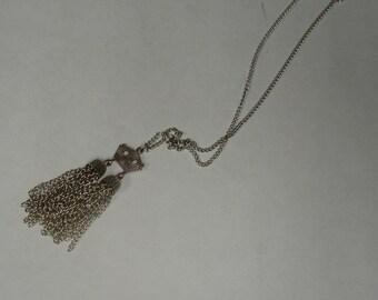 Vintage Art Deco Silvertone Double Tassel Pendant Chain Necklace