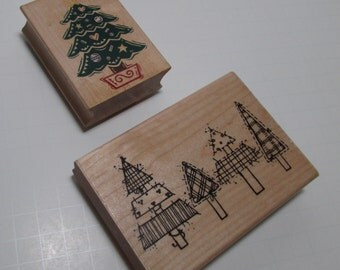 Christmas Tree wood mounted rubber stamps - Destash, wooden, two stamps
