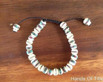 White Embedded Yak Bone Wrist mala/ Bracelet for Meditation BM-131