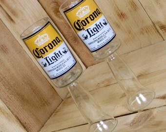 Upcycled Corona Light Beer Redneck Wine Glass Chalice