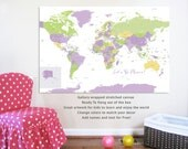 Large World Map on canvas, Big World, 32X48 Inches, Travel Artwork, Travel gift, Farewell, Gift for home, Maps for Girls Rooms