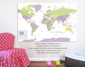 World Map on canvas, Big World, 24X36, Travel Artwork, Travel gift, Farewell, Gift for home, Maps for Girls Rooms