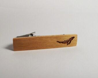 Wood Tie Clip, Whale